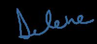 Delenes signature in blue